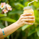 Fruit smoothie - healthy eating concept. Close up of  detox smoo Royalty Free Stock Photo
