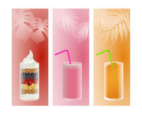 Fruit, smoothie and ice Stock Photos