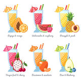 Fruit smoothie (juice) in big glasses vector concept. Menu element for cafe or restaurant. Modern flat design. Stock Photography