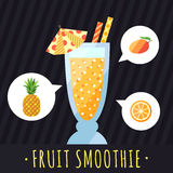 Fruit smoothie (juice) vector background (pineapple, mango and orange). Menu element for cafe or restaurant. Stock Image