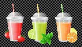 Fruit smoothie of strawberry, lime and mint, orange and lemon Royalty Free Stock Image