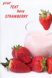 Fruit smoothie yogurt with red Strawberry on the white backgroun Stock Photos