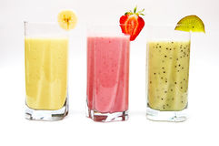 Fruit smoothies. Various fruit smoothies isolated on a white background Stock Image