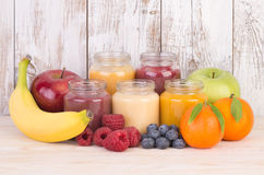 Fruit smoothies for a baby Royalty Free Stock Images