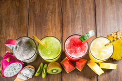 Fruit smoothies with dragon fruit, kiwi, watermelon, Pineapple o Royalty Free Stock Photography