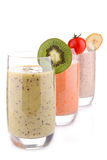 Fruit smoothies isolated on white Royalty Free Stock Photography