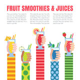 Fruit smoothies (juices) in hands vector background. Menu element for cafe or restaurant. Modern flat design. Stock Photos