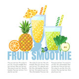Fruit smoothies (juices) vector background (orange, pineapple, blueberry, spinach, apple). Menu element for cafe or restaurant. He Stock Photo