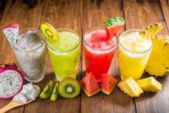 Fruit smoothies met draakfruit, kiwi, watermeloen, Ananas o Royalty-vrije Stock Foto's