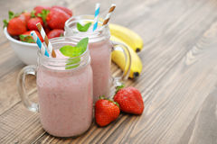 Fruit smoothies with strawberry Royalty Free Stock Photos