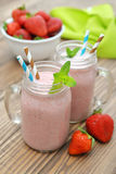 Fruit smoothies with strawberry Stock Photo