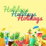 Fruit smoothies summer beach Royalty Free Stock Photo