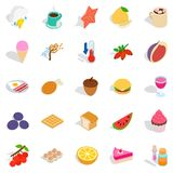 Fruit snack icons set, isometric style. Fruit snack icons set. Isometric set of 25 fruit snack vector icons for web isolated on white background Stock Images