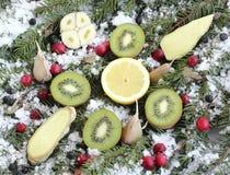 Fruit on snow Stock Photo