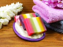 Fruit soap with bath items and towel on wooden background Stock Image