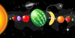 Fruit solar system. Side view of solar system with fruits Royalty Free Stock Photos