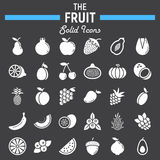 Fruit solid icon set, food symbols collection. Vegetarian vector sketches, logo illustrations, glyph pictograms package isolated on black background, eps 10 Stock Photography