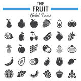 Fruit solid icon set, food symbols collection Royalty Free Stock Images