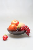 Fruit. Some healthy fruit on the plate royalty free stock photography