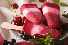 Fruit sorbet with cherries and currants on a stick closeup. hori. Fruit sorbet with cherries and currants on a stick closeup on a plate. horizontal Royalty Free Stock Photo