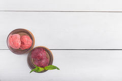 Fruit sorbet witn green mint in glass. On white background royalty free stock image