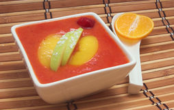 Fruit soup. Cold fruit soup with sliced apple and peach Stock Photography