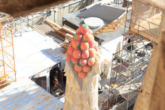 Fruit spire and Sagrada Familia construction site in Barcelona Stock Image