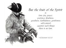 Fruit of the Spirit Bible Verse with Cowboy. My freehand pencil drawing of a cowboy in the saddle, holding the reins, accompanied by the well known and loved Royalty Free Stock Photo