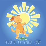 Fruit of the Spirit - joy. Illustration - cartoon dog is happy Royalty Free Stock Photos
