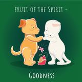 Fruit of the Spirit - Mercy - Goodness. Illustration - cartoon cat asks for forgiveness for the broken pot. Dog forgives for misbehaviour Stock Photography