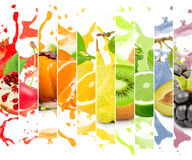 Fruit splash. Rainbow colorful fruit stripe collection with splash on white background Stock Photo