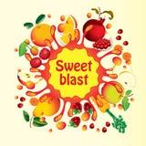 Fruit and splashes juice Stock Images