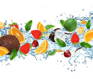 Fruit with splashing water Royalty Free Stock Photos