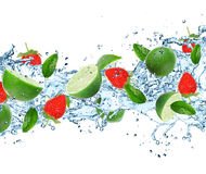 Fruit with splashing water Royalty Free Stock Image