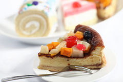 Fruit sponge cake slice horizontal Stock Photo