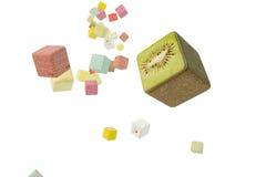 Fruit squares drop Stock Images