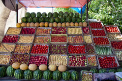 Fruit on the stall. In market in Armenia. Colorful view Stock Photography