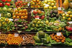 Full of vitamins. Exotic fruits stall on a market stock image