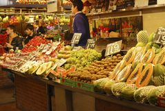 Fruit stall in covered market. Barcelona. Spain. Stock Photography
