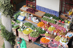 Fruit stall in the Farmers market in Funchal Royalty Free Stock Images