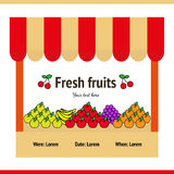 Fruit stall. Stall with fresh fruit in the style of the flat: bananas, grapes, green apples, red apples, orange, apples, oranges Stock Photos