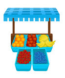 Fruit Stall. Illustration of a Fruit Stall Stock Photos