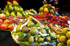 Fruit stall in an indoor farm market Stock Images
