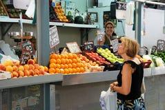 Fruit stall at the indoor market, Malaga. Royalty Free Stock Photo