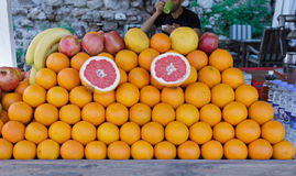 Fruit Stall. With Oranges, Red Apples, Grapefruits, Bananas and Pomegranates Royalty Free Stock Photo