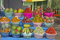 Fruit stalls in Bali, Indonesia. Street fruit stalls in Bali, Indonesia Royalty Free Stock Photography