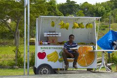 Fruit stalls in Caribbean. Market with fruit stalls in Caribbean islands Stock Photos