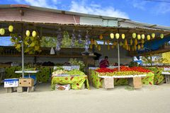 Fruit stalls in Caribbean Stock Photo
