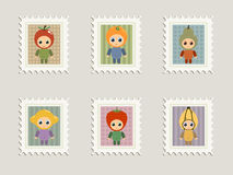 Fruit stamps. A collection of stamps with babies in fruit costumes Stock Photo