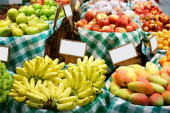 Fruit Stand. With fresh oranges, apple, bananas Stock Photo